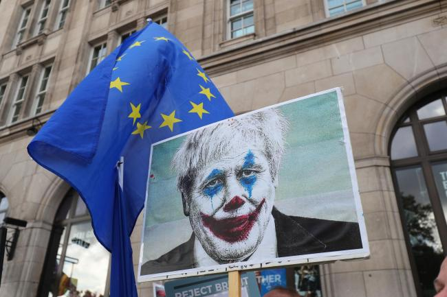 Joker Johnson? protesters portrayed PM as cartoon character as Brexit remains unresolved