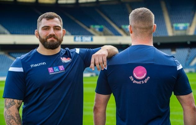 Edinburgh's Jamie Bhatti (L) and Murray McCallum are pictured during a Edinburgh rugby photocall to announce their new charity partner, 'Its Good 2 Give'. (Photo by Bill Murray / SNS Group / SRU)