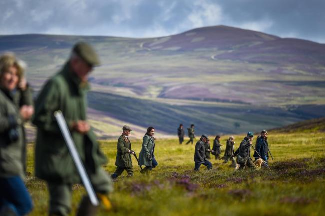 A shooting party heralds the new shooting season on a grouse moor at the Alvie Estate