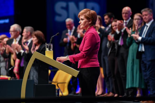 ABERDEEN, SCOTLAND - OCTOBER 15: Nicola Sturgeon First Minister of Scotland and leader of the SNP addresses the party autumn conference on October 15, 2019 in Aberdeen, Scotland.  Addressing the SNPs autumn conference at The Event Complex Aberdeen (TECA),