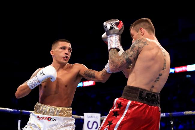 Lee Selby and Ricky Burns in action during their lightweight fight at The O2 Arena on October 26, 2019 in London. Picture: Getty