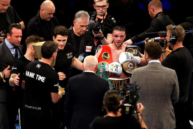 Josh Taylor (right) celebrates winning the super-lightweight unification at the O2 Arena, London. PA Photo. Picture date: Saturday October 26, 2019. See PA story BOXING London. Photo credit should read: Paul Harding/PA Wire