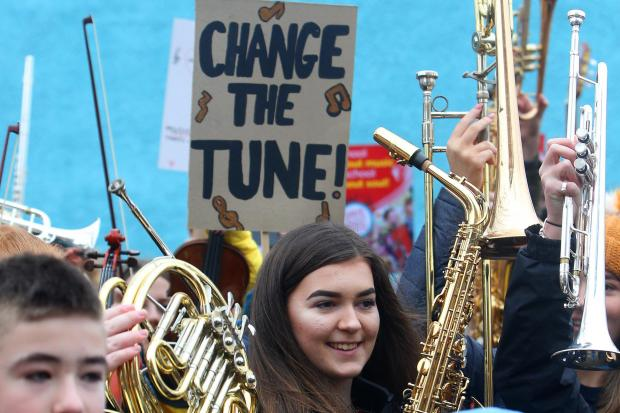 Young musicians from across the country have protested about their local authorities charging for school music lessons. Picture: Gordon Terris.
