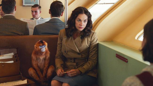 Mrs Coulter (Ruth Wilson) and her daemon travel to London with Lyra in His Dark Materials