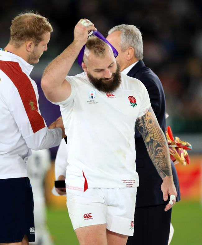 England's Joe Marler with his runners-up medal after the Rugby World Cup final.