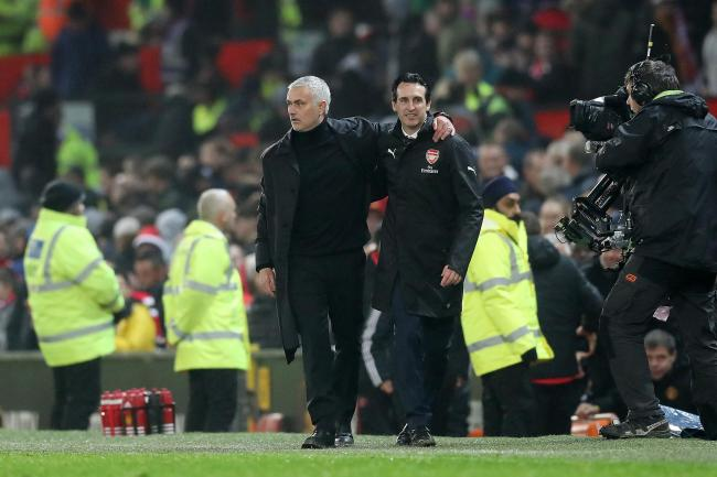 Jose Mourinho, left, said he had no contact over replacing Unai Emery, right, at Arsenal
