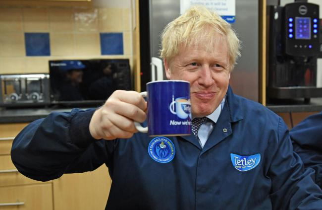 Time for tea: Johnson enjoys a cuppa on the stump in Stockton