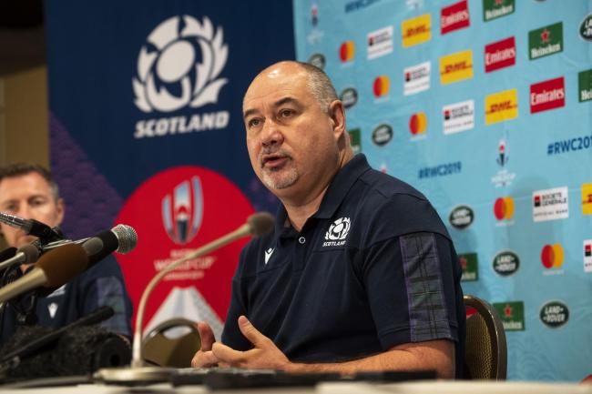 SRU chief executive Mark Dodson at a press conference in Japan
