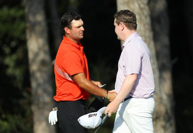 Robert MacIntyre (right) shakes hands with former Masters champion Patrick Reed