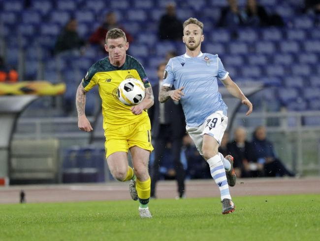 Celtic' Jonny Hayes, left, and Lazio's Manuel Lazzari vie for the ball in Rome on Thursday night. Picture: AP Photo/Gregorio Borgia.