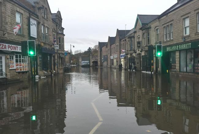 A flooded street in Matlock.