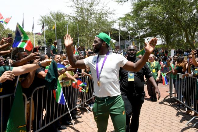 South Africa captain Siya Kolisi during the Rugby World Cup 2019 Champions Tour. Picture: Getty