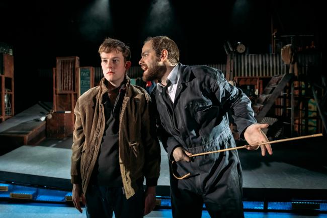 Danny Hughes (Billy) and Matthew Barker (Man) in Kes    Picture: Mihaela Bodlovic