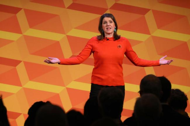 Emotional Jo Swinson recalls late father's support for political career