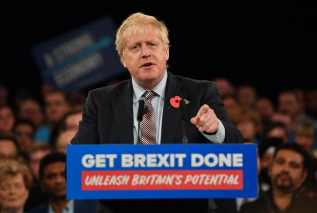 Prime Minister Boris Johnson speaking at the launch the Conservative Party's General Election campaign at NEC, Birmingham. PA Photo. Picture date: Wednesday November 6, 2019. See PA story POLITICS Election. Photo credit should read: Jacob King/PA Wir
