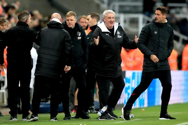 Newcastle head coach Steve Bruce, second right, celebrates victory over Bournemouth