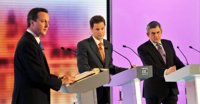 One of Britain's first televised election head-to-heads saw Conservative Party leader David Cameron, Liberal Democrat leader Nick Clegg and Prime Minister Gordon Brown take part in the third and final leaders' debate of the 2010 General Election