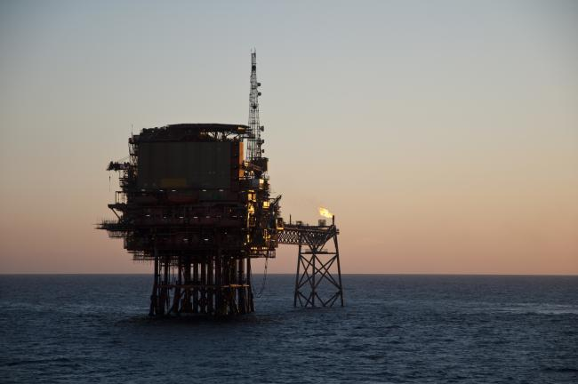 Offshore oil production platform in North Sea.