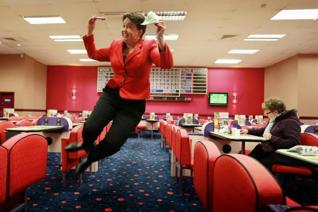 Ruth Davidson 1 SA : Scottish Conservative leader Ruth Davidson enjoys an afternoon at the Mecca Bingo in Leith as she meets voters to talk about the 'triple lock' pensions pledge ahead of next weeks elections...Scottish Conservative leader Ruth D