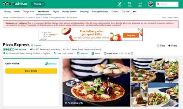 Tripadvisor Suspends Reviews Of Pizza Express Mentioned By