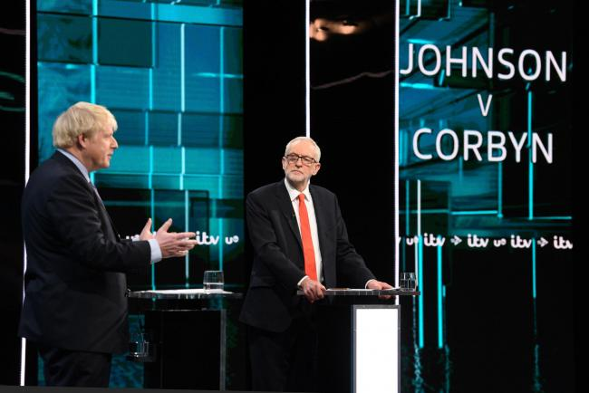 PM Boris Johnson and Labour leader Jeremy Corbyn in the ITV debate this week. Picture: ITV/PA