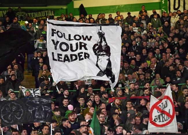 The Celtic fans display a banner depicting fascist leader Benito Mussolini PHOTO: SNS