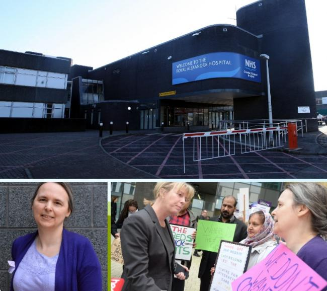 Catherine Hughes said she was appalled by conditions in the out-of-hours unit at the Royal Alexandra Hospital; (bottom right) Ms Hughes with former Health Secretary Shona Robison when she was campaigning to save beds at the Centre for Integrative Health