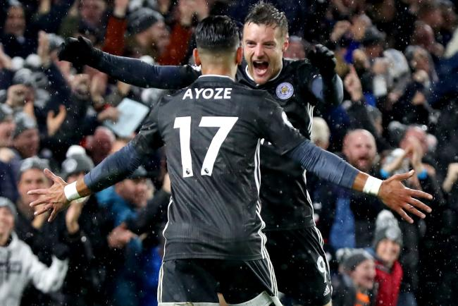 Leicester's Ayoze Perez and Jamie Vardy celebrate the opening goal against Brighton
