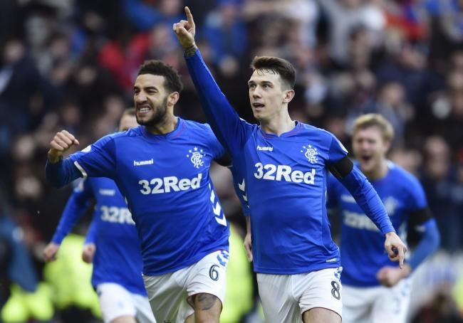 Ryan Jack celebrates scoring against Celtic last December. Rangers won the game but failed to build on the result
