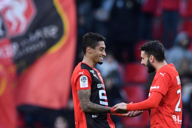 Raphinha and Romain Del Castillo in action for Rennes
