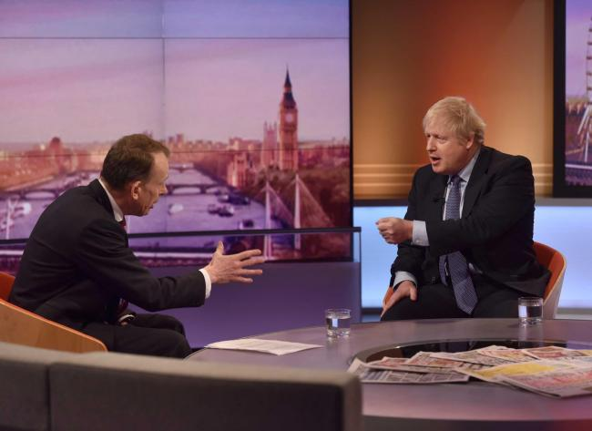 For use in UK, Ireland or Benelux countries only ..BBC handout photo of  Prime Minister Boris Johnson, with host Andrew Marr, appearing on the BBC1 current affairs programme, The Andrew Marr Show. PA Photo. Picture date: Sunday December 1, 2019. See PA st