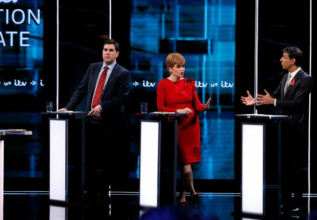 SALFORD, ENGLAND - DECEMBER 01: (AVAILABLE FOR EDITORIAL USE UNTIL DECEMBER 19, 2019) In this handout images provided by ITV, (L-R) Labour Party MP Richard Bergen, First Minister of Scotland and Leader of the SNP Nicola Sturgeon, Conservative MP Rishi Sun