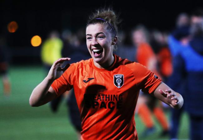 Glasgow City's Nicola Docherty celebrates after her side's dramatic win over Brondby