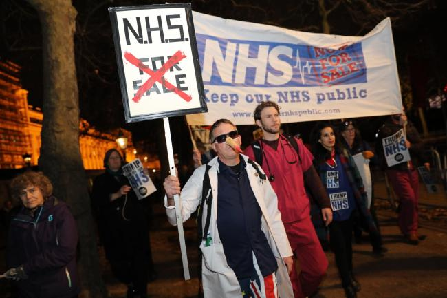 NHS nurses and doctors in central London, during  a