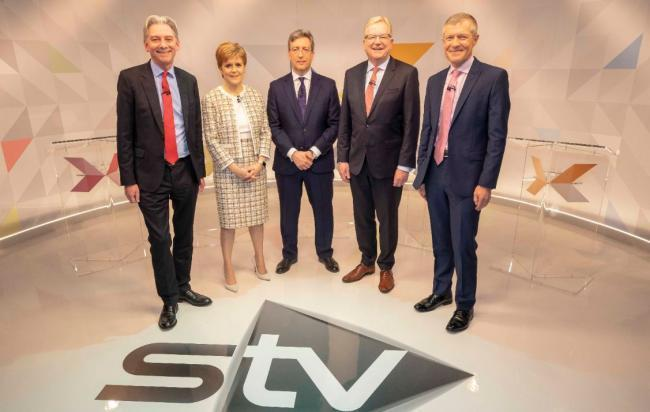 The STV Leaders' Debate was hosted by the station's political editor, Colin Mackay, centre