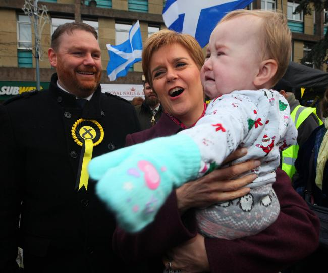 SNP leader Nicola Sturgeon visits Dalkeith with cadidate Owen Thomson  in Midlothian wednesday. STY.Pic Gordon Terris/The Herald.4/12/19.