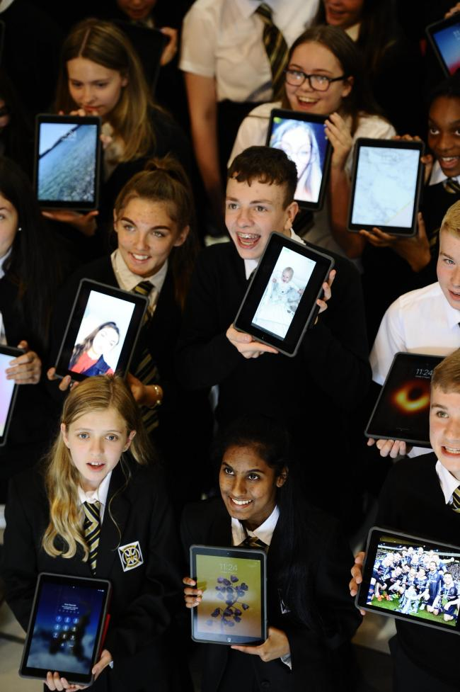 Pupils at St Thomas Aquinas Secondary with their new iPads