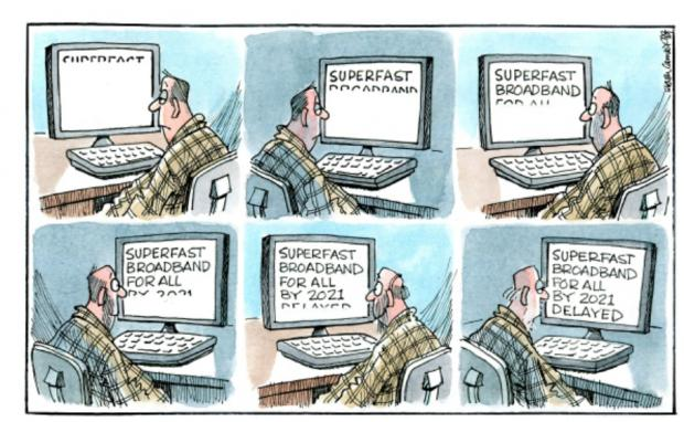 HeraldScotland: Camley's Cartoon: Superfast broadband delayed.