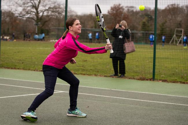 Liberal Democrat leader Jo Swinson playing tennis for the cameras last week