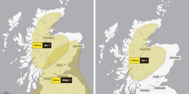 HeraldScotland: Weather warning in place for Scotland on Tuesday (left) and Wednesday (right)