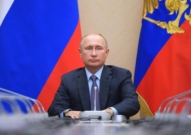 Russian President Vladimir Putin chairs a Security Council meeting in the Kremlin in Moscow, Russia. Picture: AP