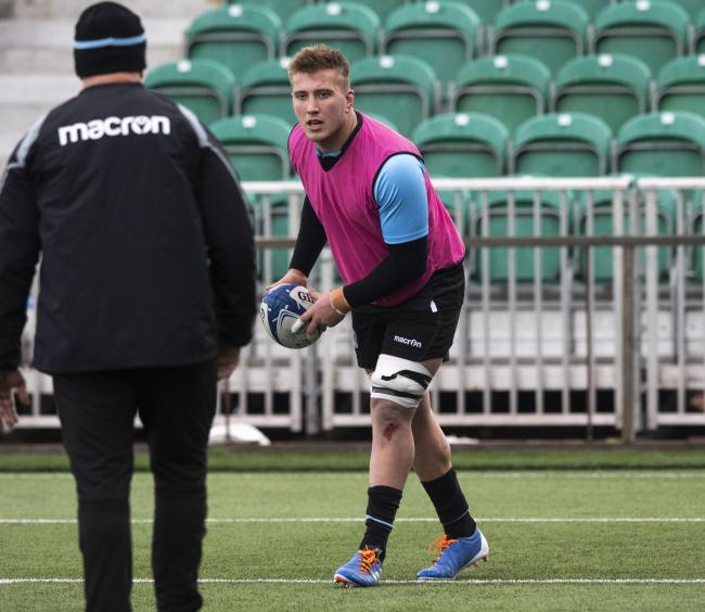 GLASGOW, SCOTLAND - NOVEMBER 19: Glasgow Warriors' Matt Fagerson during a training session at Scotstoun Stadium on November 19, 2019, in Glasgow, Scotland. (Photo by Gary Hutchison / SNS Group / SRU).