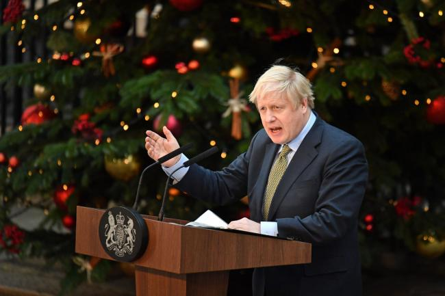 Prime Minister Boris Johnson makes a statement in Downing Street, London after the Conservative Party was returned to power in the General Election with an increased majority. PA Photo. Picture date: Friday December 13, 2019. See PA story POLITICS Electio