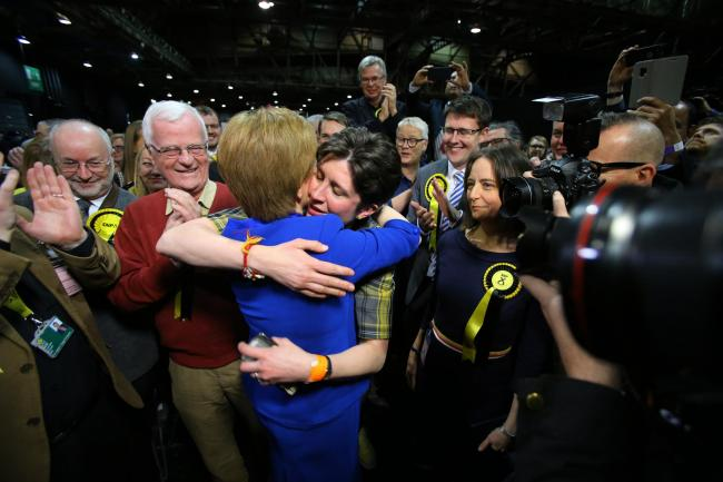 Vote count at the SEC, Glasgow for the UK parliamentary general election...First Minister Nicola Sturgeon hugs Alison Thewliss. The SNP won all seven seats in Glasgow....  Photograph by Colin Mearns.Friday 13 December 2019..