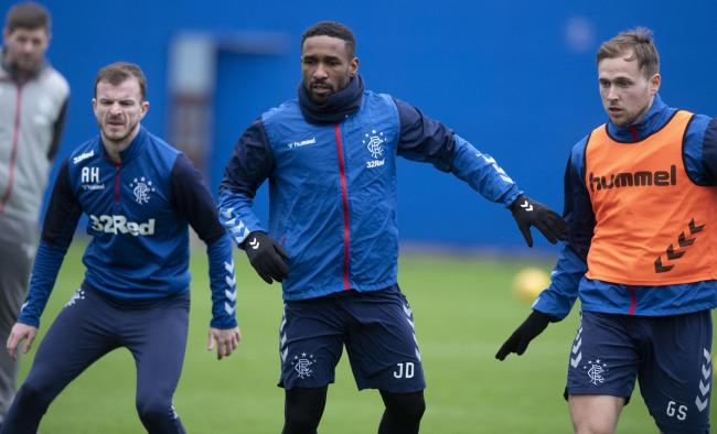 Andy Halliday, left, Jermain Defoe, centre, and Greg Stewart, right, during a Rangers training session before the shutdown. Photo by Alan Harvey/SNS Group).