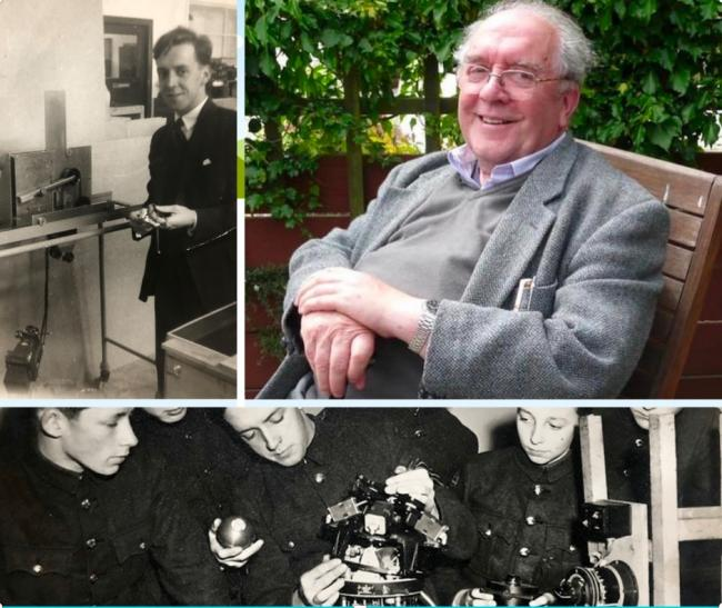 Tom Brown with the prototype ultrasound (top left) and (bottom right) showing classmates his inventions during training at Allan Glen's school, which prepared pupils undergraduate study in sciences. Mr Brown in retirement (top right)