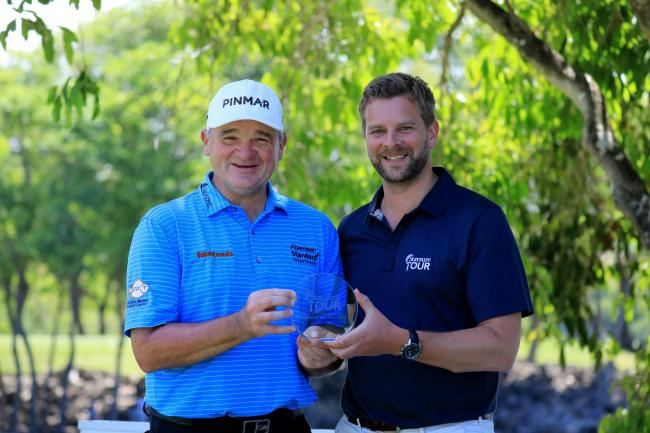 Paul Lawrie receives his Staysure Tour rookie of the year award