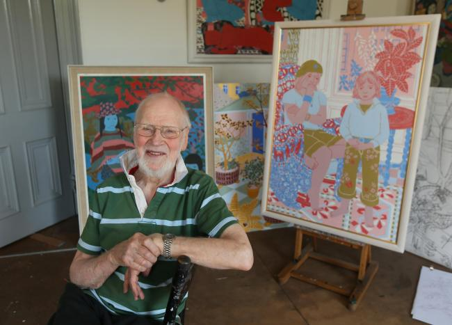 The artist Norman Gilbert pictured in his studio at home in Pollokshields. The painting on the right is titled 'Grandchildren' and is of his grandchildren Katie and Murphy, painted in 2007...   Photograph by Colin Mearns.8 June 2016.