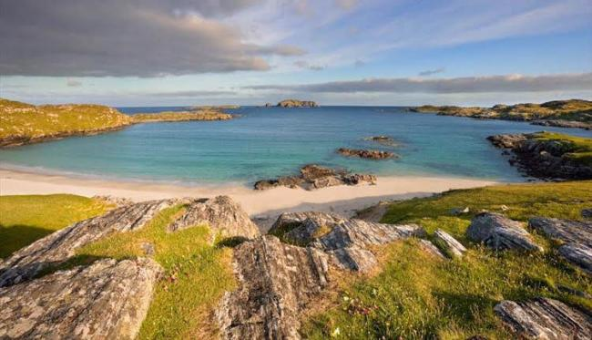 The magnificent shoreline of Bosta Beach on the island of Great Bernera, Lewis