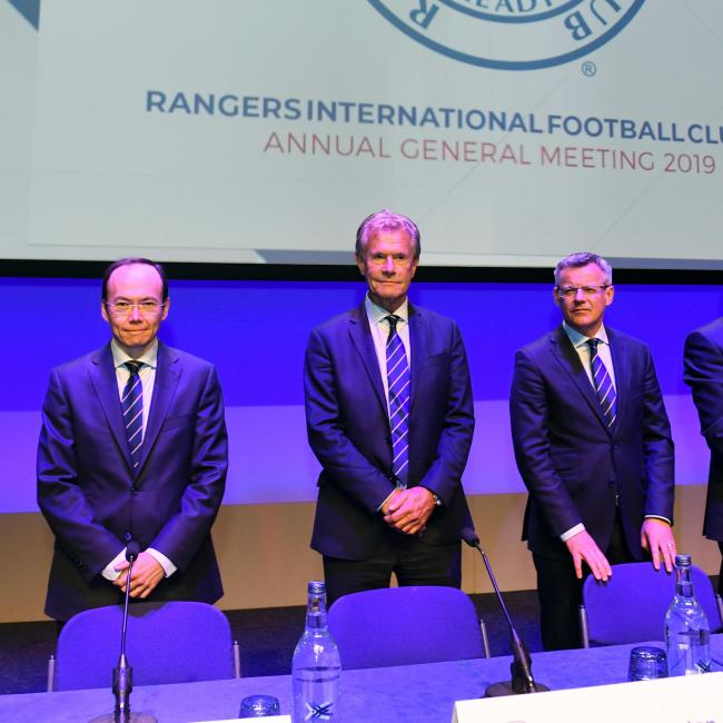 Alastair Johnston (centre) at the Rangers AGM meeting this year